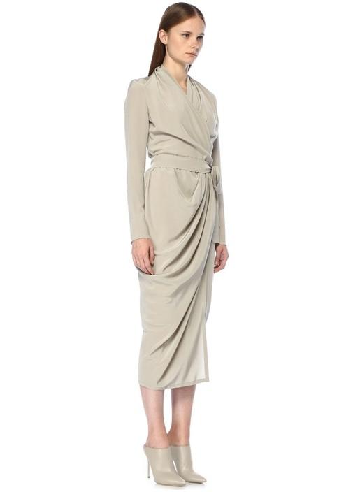 Ekru Şal Yaka Midi İpek Anvelop Elbise