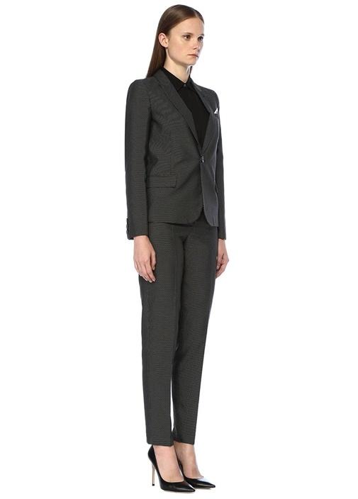 Siyah Beyaz Mikro Desenli Mendil Detaylı Ceket