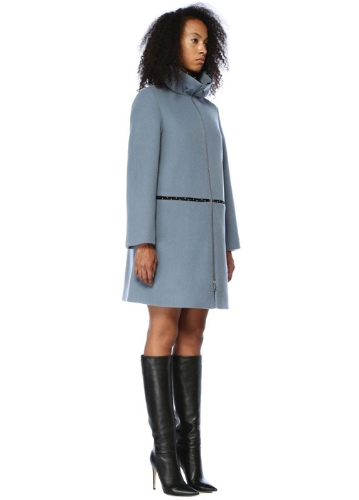 Mavi Dik Yaka Şerit Trok Detaylı Yün Palto