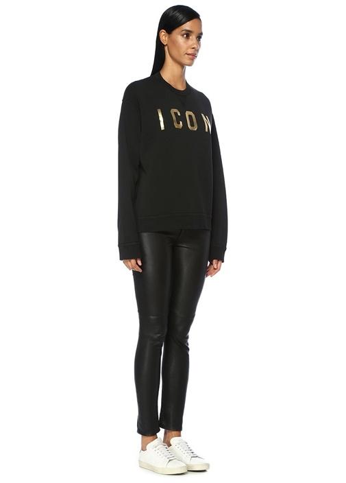 Icon Siyah Düşük Omuzlu Sweatshirt