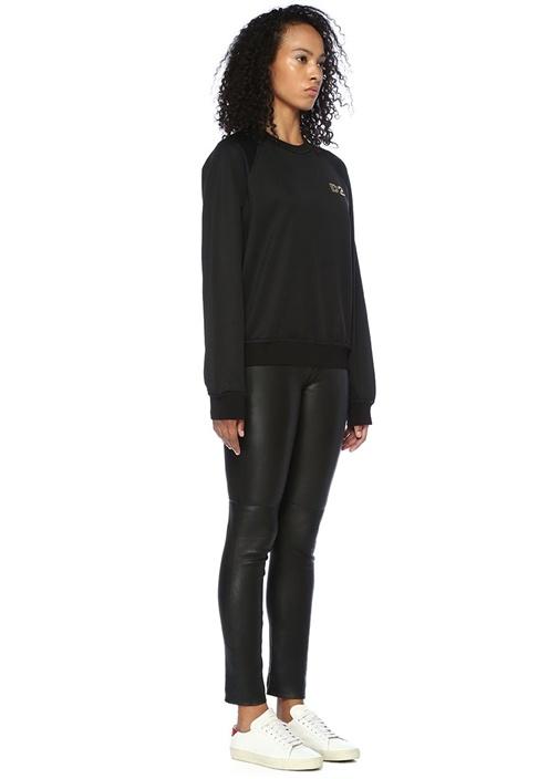 Siyah Logo İşlemeli Reglan Kollu Sweatshirt