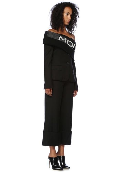 Siyah Paçası Katlı Yün Pantolon