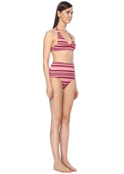 Deniz Pembe Çizgili Yüksek Bel Bikini Takımı