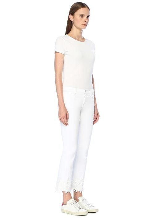 Selena Beyaz Paçası Dantelli Crop Jean Pantolon