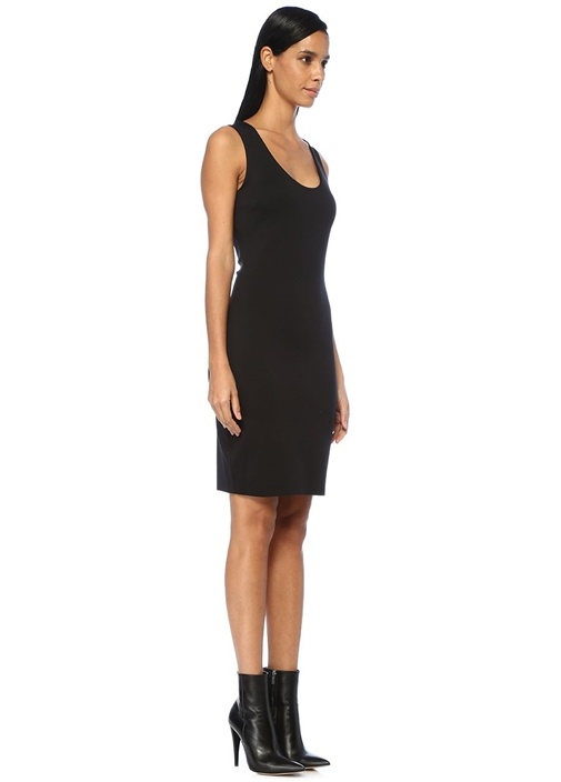Borelle Siyah Kolsuz Midi Streç Elbise