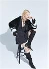 Siyah Yakası Bağlamalı Fırfırlı Mini İpek Elbise
