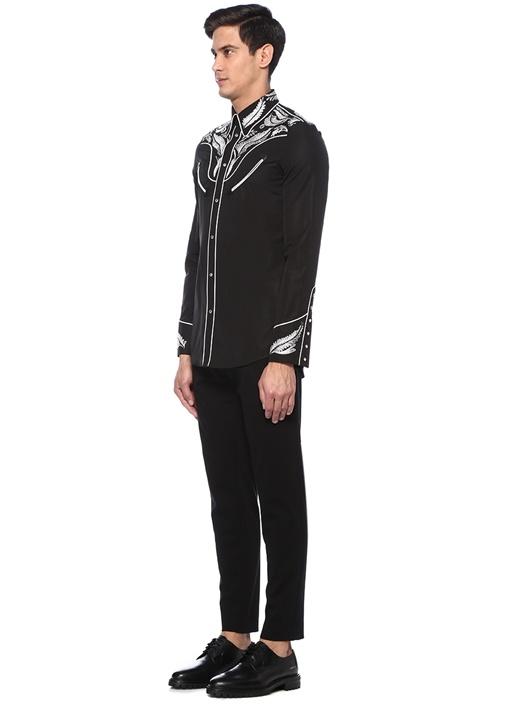 Siyah Nakışlı Taş Düğmeli Western Gömlek