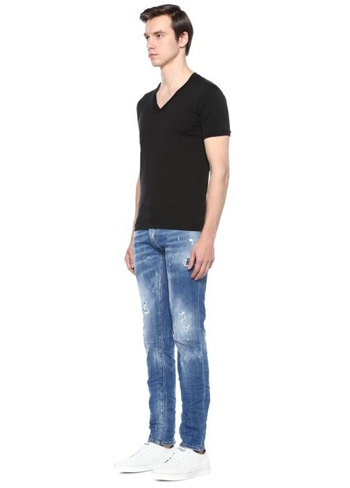 Slim Fit Mavi Normal Bel Yıpratmalı Jean Pantolon