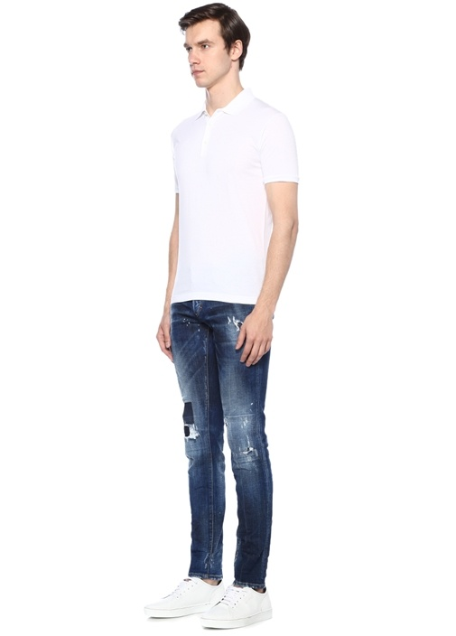 Slim Fit Mavi Normal Bel Yıpratmalı Jean Pantolon