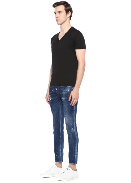 Skater Mavi Normal Bel Yıpratmalı Jean Pantolon