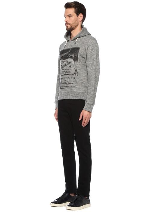 Gri Kapüşonlu Baskılı Sweatshirt