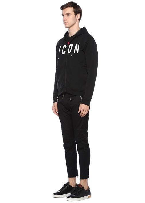 Siyah Kapüşonlu Yazı Baskılı Sweatshirt
