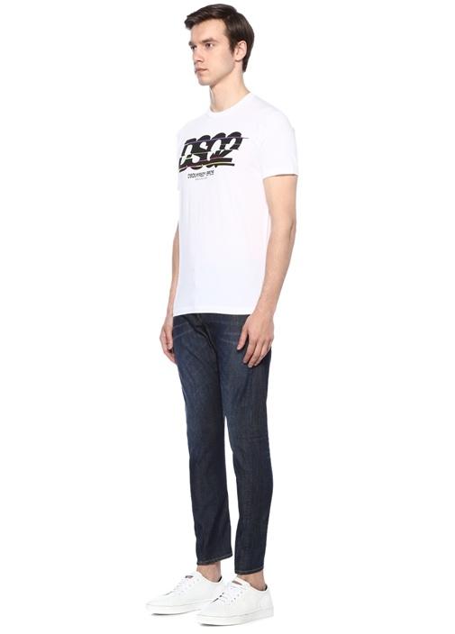 Beyaz Bisiklet Yaka Logo Baskılı Basic T-shirt