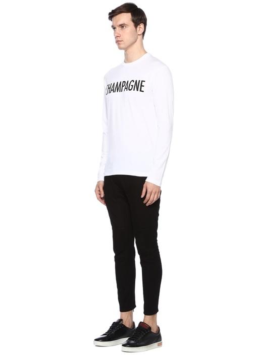 Beyaz Baskılı Uzun Kollu Basic T-shirt