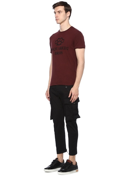 Bordo Melanj Baskılı Basic T-shirt