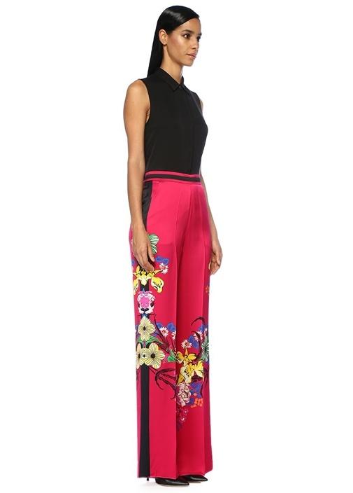 Fuşya Çiçekli Yüksek Bel Bol Paça Pantolon
