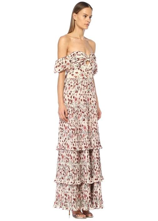 The Lady Of Shalott Omzu Açık Çiçekli Maksi Elbise
