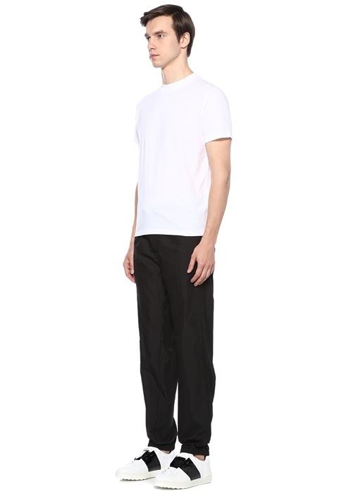 Siyah Kemerli Bol Paça Logolu Pantolon