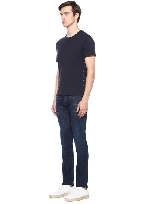 Lacivert Bisiklet Yaka Troklu Cepli Basic T-shirt