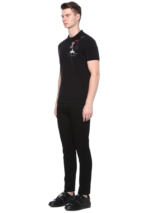 Siyah Polo Yaka Yazı İşlemeli Dokulu T-shirt