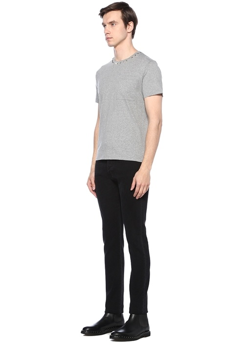 Slim Fit Siyah Beli Silver Troklu Dar Paça Jean