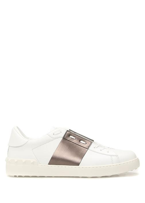 Valentino Beyaz-Gri ERKEK  Valentino Garavani Beyaz Troklu Erkek Deri Sneaker 525499 Beymen