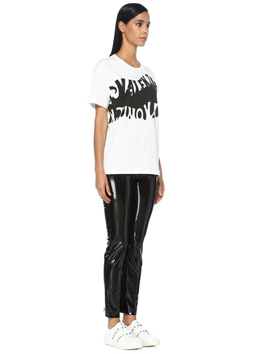 Siyah Yüksek Bel Dar Paça Parlak Pantolon
