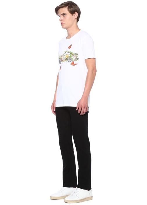 Beyaz Araba Baskılı Basic T-shirt