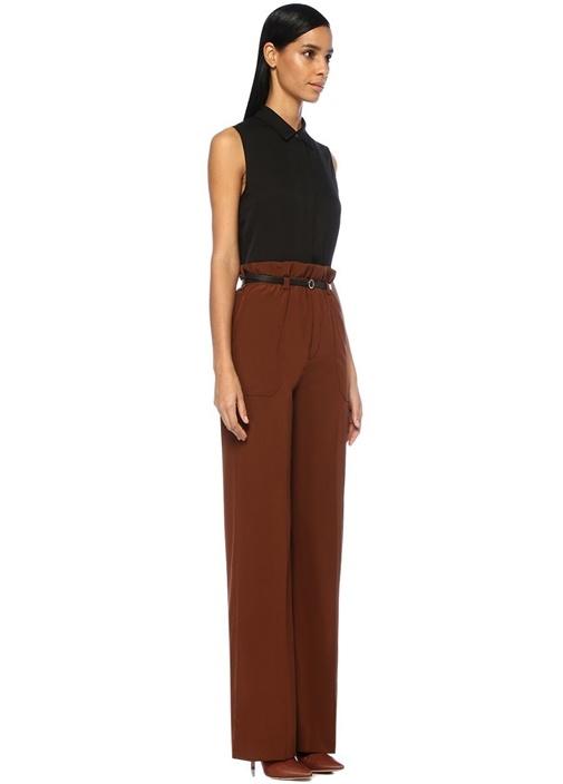 Kahverengi Yüksek Bel Kemerli Bol İpek Pantolon