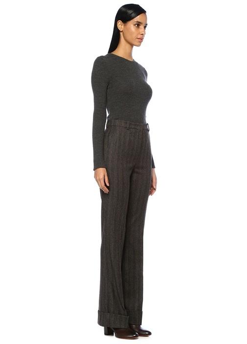 Kahverengi Şeritli Paça Detaylı Yün Pantolon