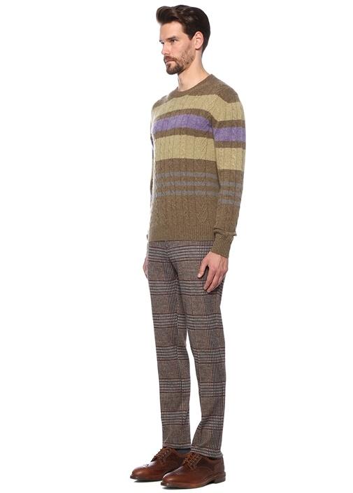 Kahverengi Ekose Desenli 4 Cepli Pantolon