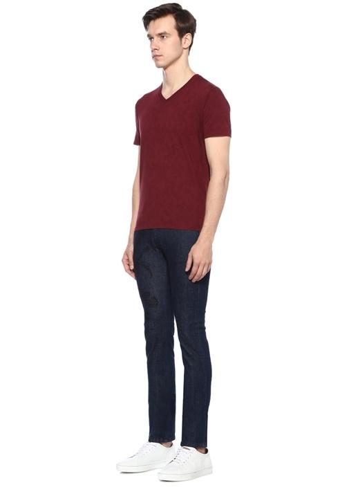Bordo V Yaka Basic T-shirt