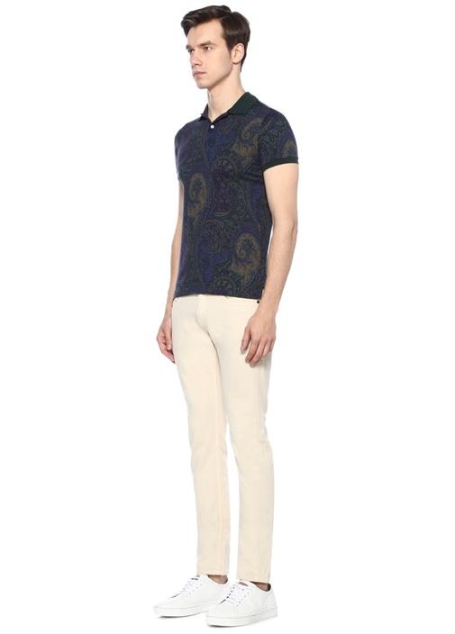 Lacivert Yeşil Polo Yaka Etnik Desenli T-shirt
