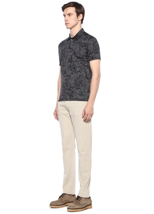 Lacivert Gri Polo Yaka Çiçekli T-shirt