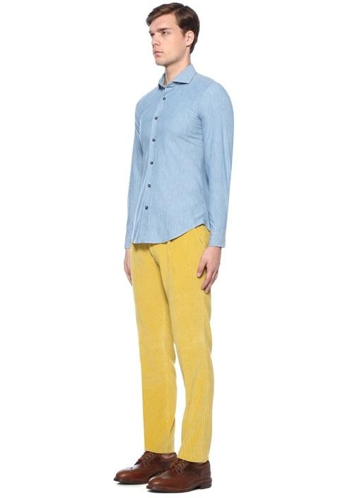 Mavi Kesik Yaka Gömlek