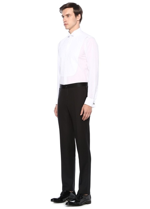 Slim Fit Beyaz Kesik Yaka Garnili Smokin Gömleği