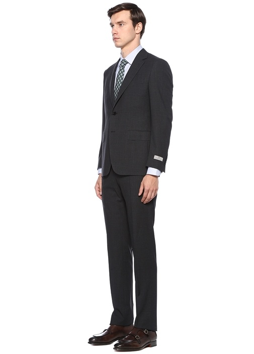 Antrasit Silik Kare Desenli Yün Takım Elbise