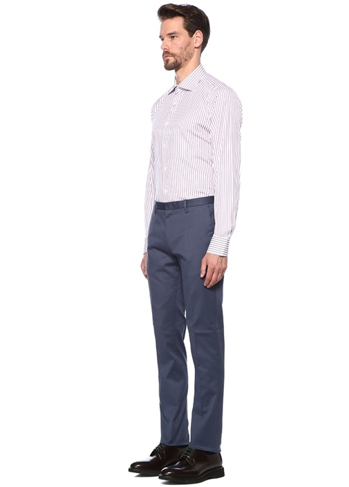 Modern Fit Mor Beyaz Çizgili Gömlek
