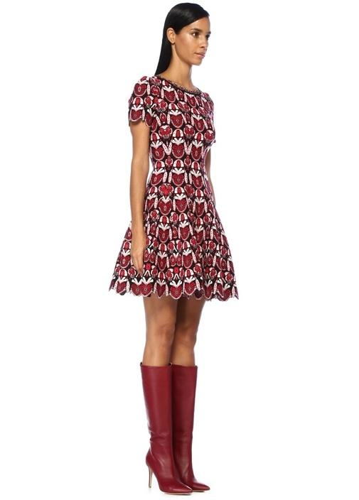 Eden Kırmızı Siyah Çan Formlu Mini Yün Elbise