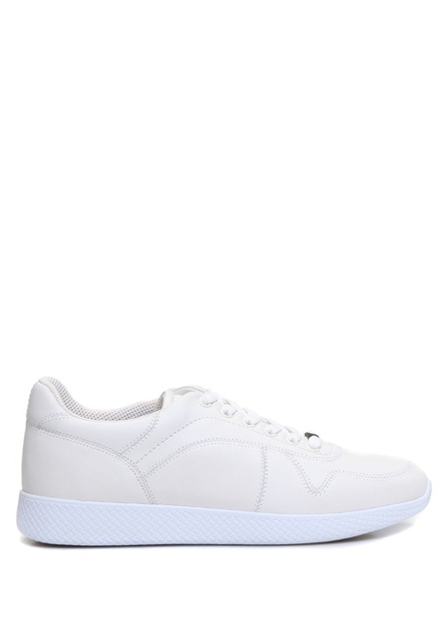 Beyaz Bağcıklı Dikiş Detaylı Erkek Deri Sneaker