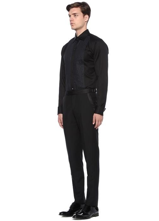 Slim Fit Siyah Klasik Yaka Işıltılı Smokin Gömlek