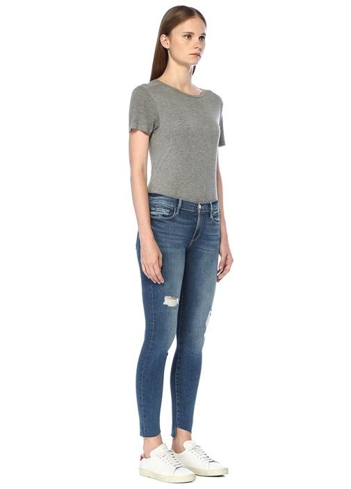 Normal Bel Yıpratmalı Skinny Jean Pantolon