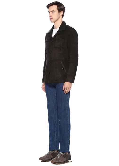 Kahverengi Yakası Tüy Detaylı Süet Ceket