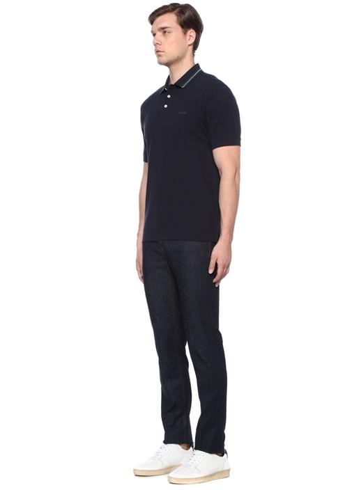 Lacivert Polo Yaka Şeritli Dokulu T-shirt