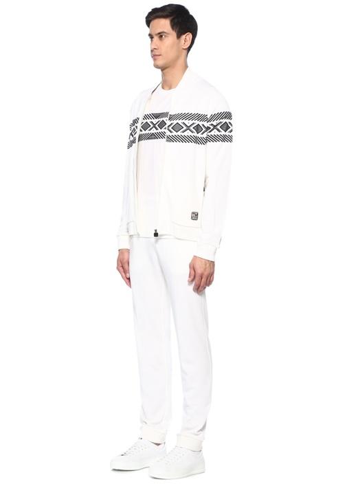 Geometrik Jakarlı Techmerino Özellikli Sweatshirt