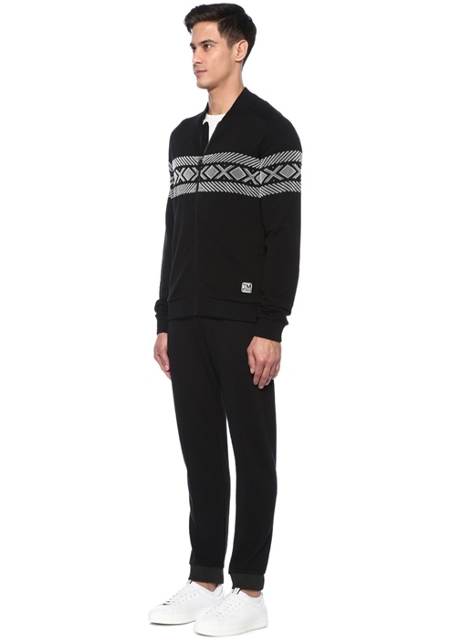 Siyah Techmerino Özellikli Desenli Sweatshirt