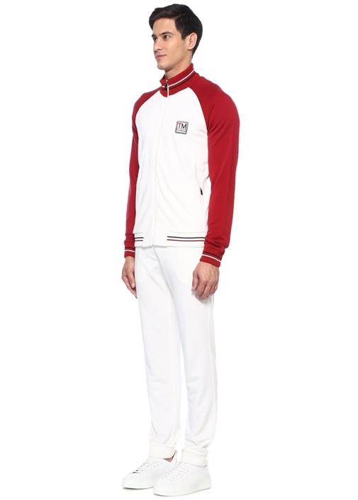 Kırmızı Beyaz Yün Sweatshirt