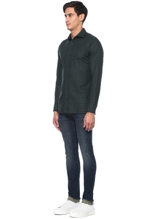 Yeşil İngiliz Yaka Kareli Gömlek