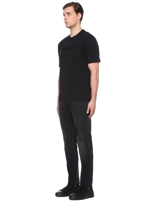 Siyah Bisiklet Yaka Jakarlı Basic T-shirt