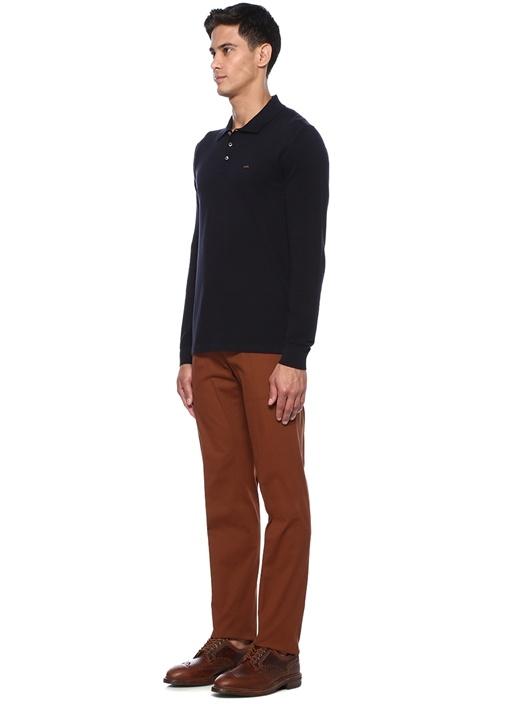 Lacivert Polo Yaka Uzun Kollu T-shirt